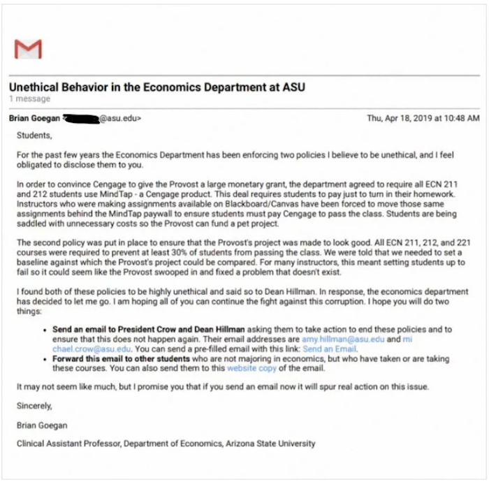 Professor Was Fired For Finding A Scam At Arizona University, So He Revealed It To His Students Via Email