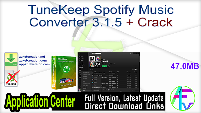 TuneKeep Spotify Music Converter 3.1.5 + Crack