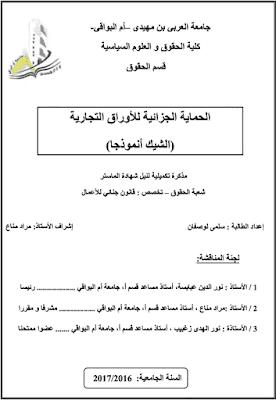 مذكرة ماستر: الحماية الجزائية للأوراق التجارية (الشيك أنموذجا) PDF