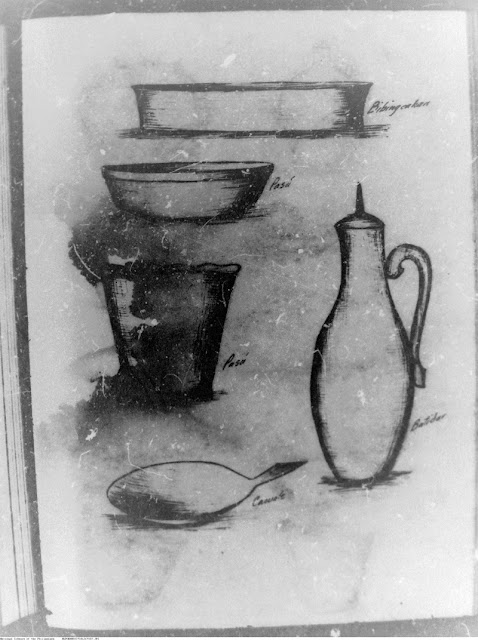 A second page of drawings made by Arguelles of pots made in Palyocan.