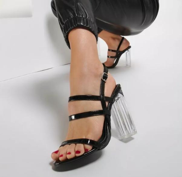 Sandale dama nege cu toc gros transparent