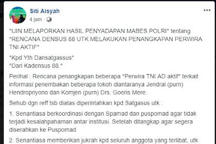 HOAX HASIL PENYADAPAN MABES POLRI tentang RENCANA DENSUS 88 UTK MELAKUKAN PENANGKAPAN PERWIRA TNI AKTIF