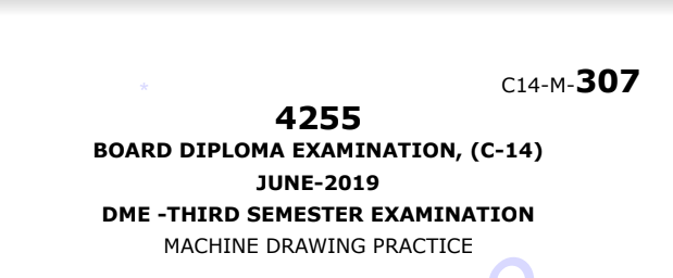 Sbtet c14 machine drawing practice june 2019 previous old question papers