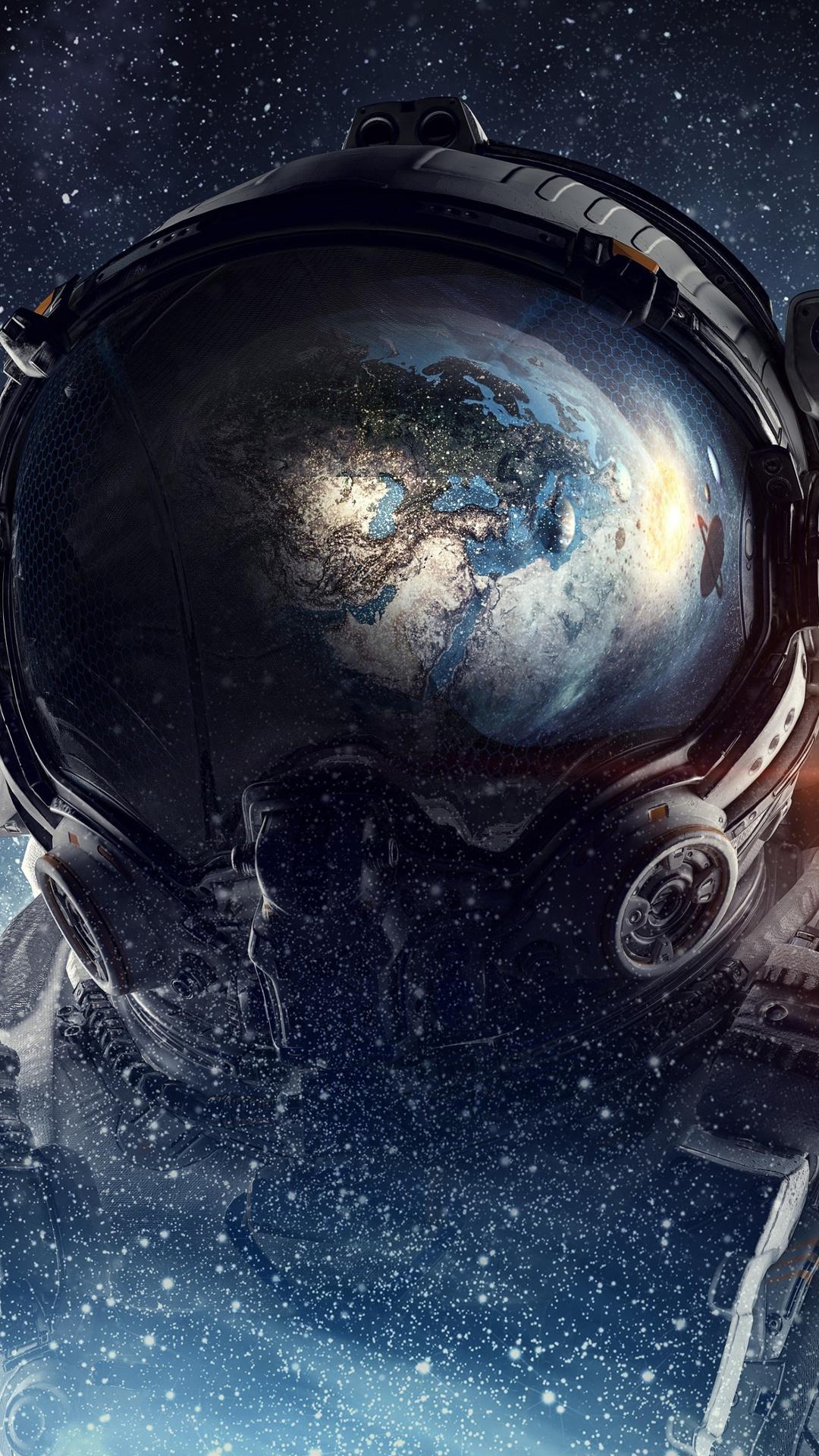 astronaut galaxy space stars digital art 4k hs