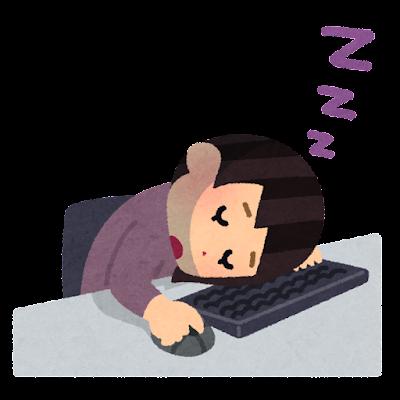 寝落ちのイラスト(パソコン・女性)