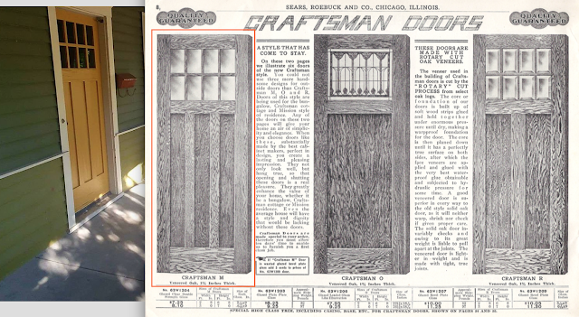 comparison of front door against catalog images of Sears craftsman entry doors