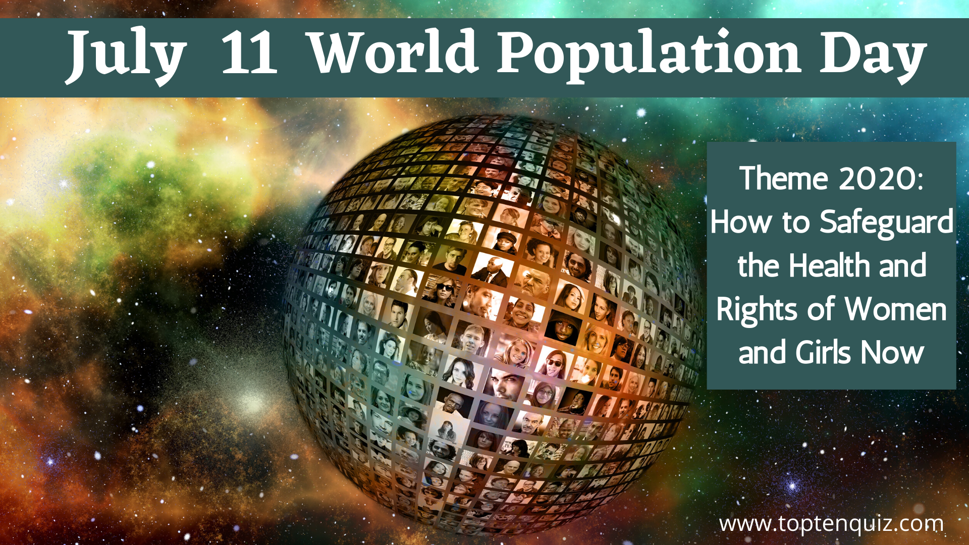 July 11 World Population Day Theme 2020 and 2019, 2018