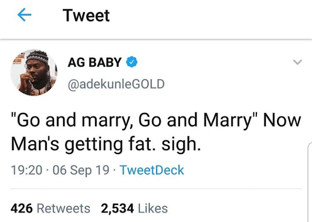"""I am getting Fat after getting married"" – Adekunle Gold cries out"