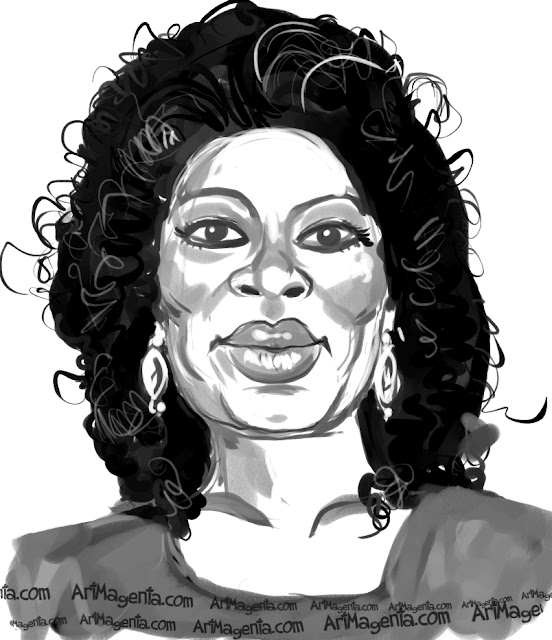 Oprah Winfrey  caricature cartoon. Portrait drawing by caricaturist Artmagenta.