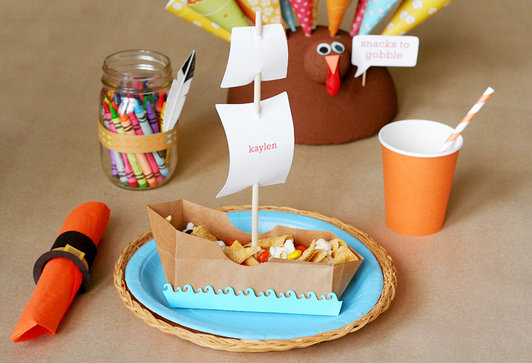 Kids boat Thanksgiving Place Cards