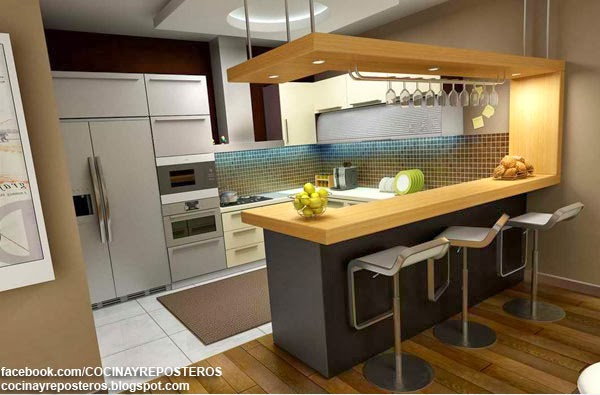 Cocinas Con Barra Cocina Y Reposteros Decoracion Fotos Y Videos - Cocinas-modernas-con-barra-americana
