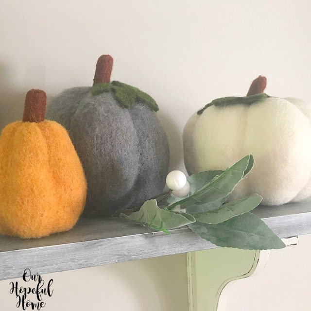 gold gray white felt pumpkin brown stem shelf
