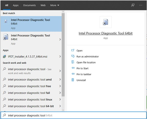 Intel Processor Diagnostic Tool