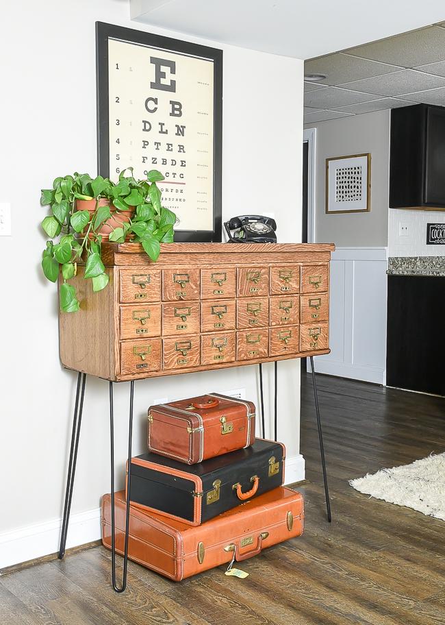Vintage wood card catalog