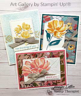 Art Gallery Bundle by Stampin' Up!.  Wax paper resist technique.  Blending Brushes.  Video link & supply list on the blog.  #StampinUp #StampTherapist
