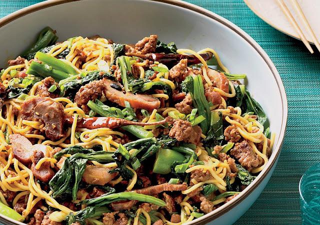 receta de lo mein con cerdo picante