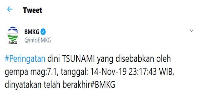 BMKG Cabut Peringatan Tsunami Akibat Gempa 7,1 SR Di Malut
