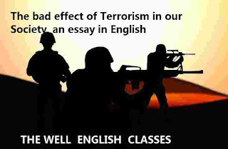 The bad effect of Terrorism in our Society, an essay in English