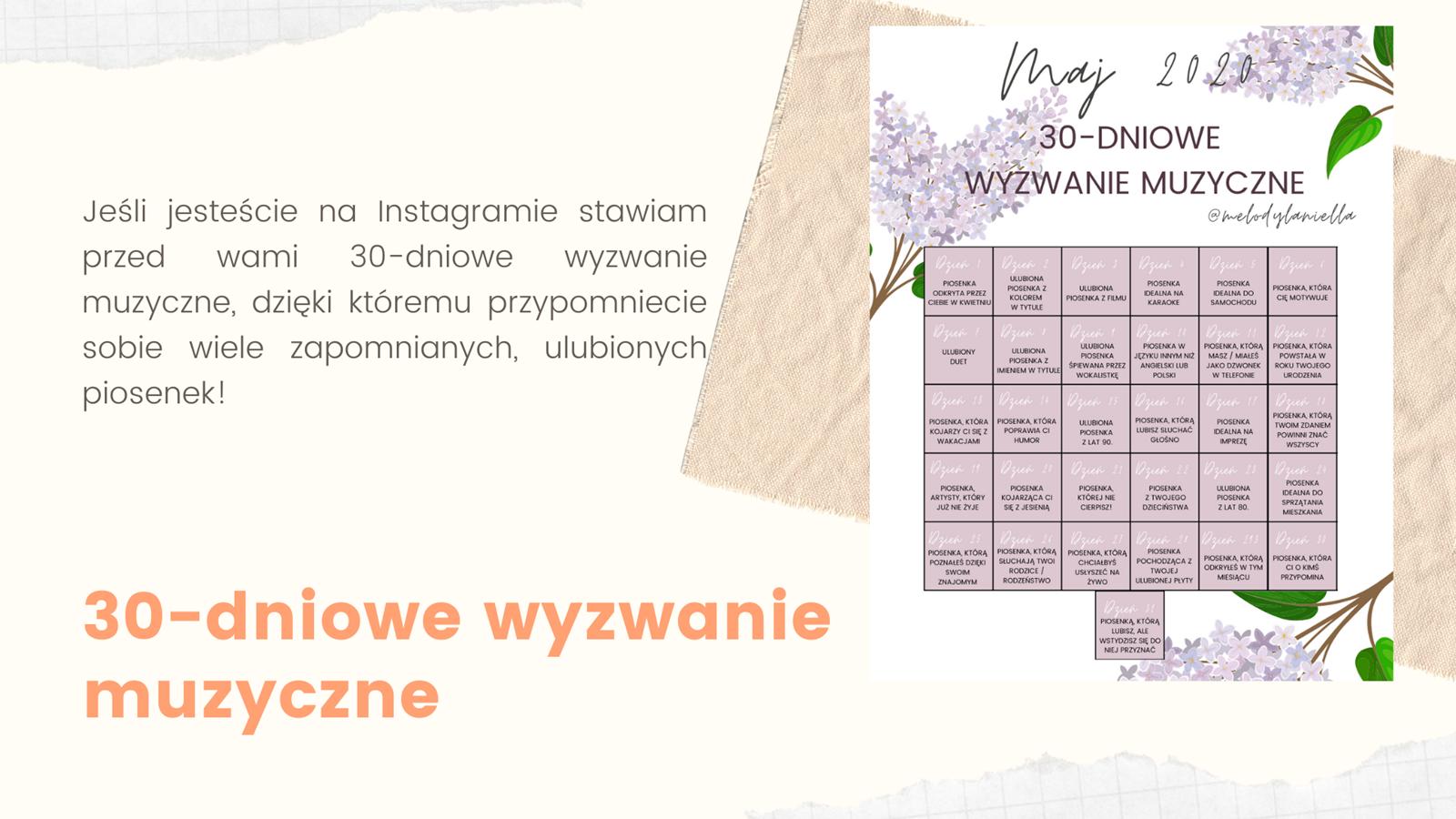 3 darmowy kalendarz do druku jak zrobić 30-dniowe wyzwanie muzyczne na instagramie instastory kalendarz ładny kolorowy maj 2020 do druku darmowy do pobrania kwiaty kobiecy dla dziewczyny