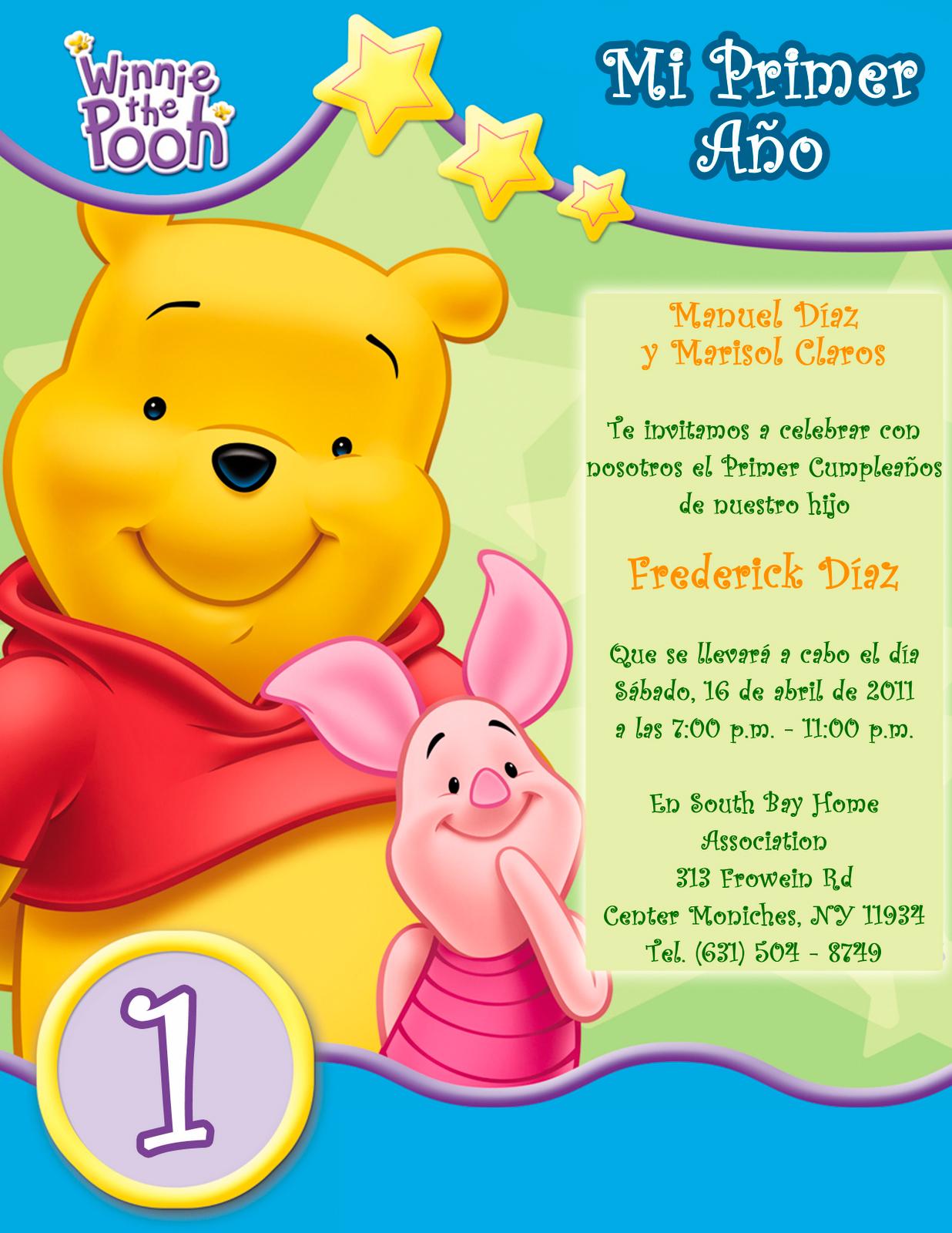 Tarjeta de Invitación Infantil de Cumpleaños Winnie the Pooh | Artes ...