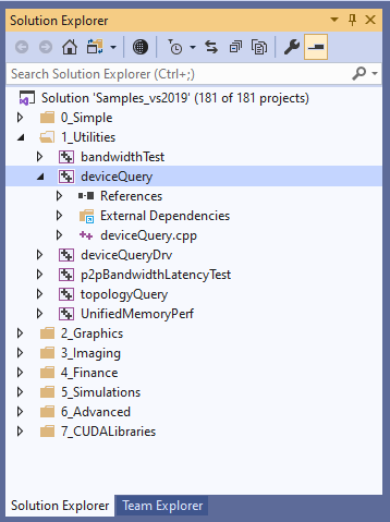 Screenshot of deviceQuery in VS Solution Explorer