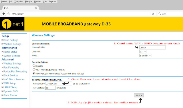 setting router d35 ice.net net1 ceria