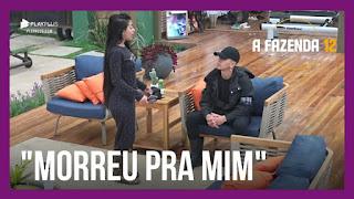 """A Fazenda 12 – Mirella """"detona"""" Jojo – Mariano e Jojo falam sobre pós-votação"""