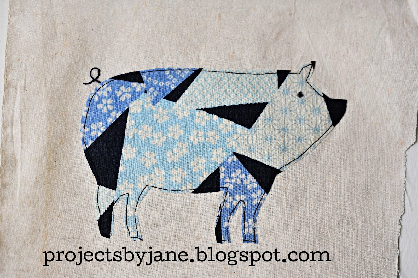 Pig applique template projects by jane