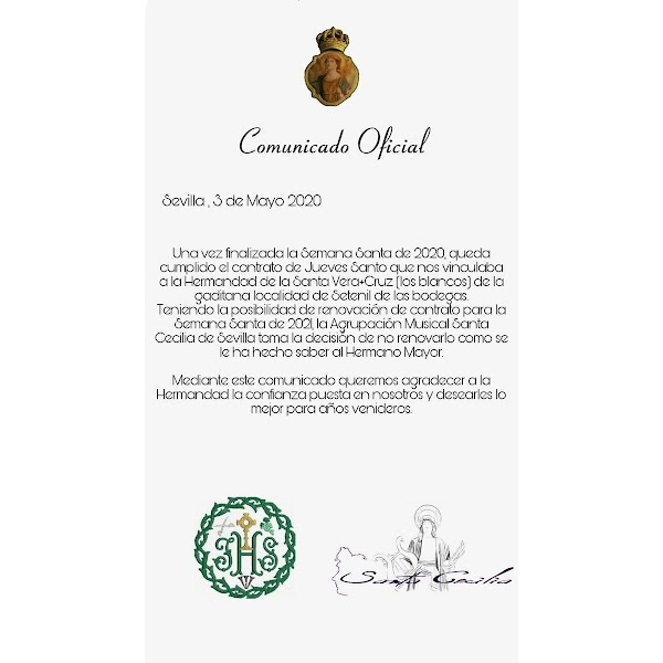 Musical Association Santa Cecilia (Seville) announces the end of the contract with the Hdad de Los Blancos de Setenil