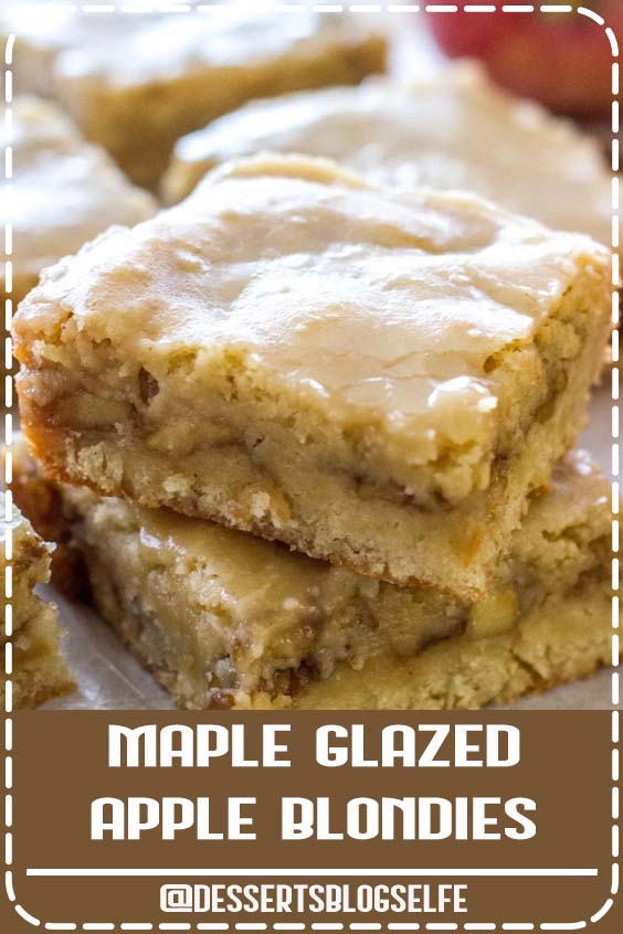 These chewy Maple Glazed Apple Blondies taste like sweet apple pie with a warm maple icing! This homemade apple blondie recipe is the perfect fall dessert! It's easy, super flavorful, and always a crowd pleaser! Maple Apple Blondies are one of the easiest desserts! #DessertsBlogSelfe #fall #apple #maple #dessert #recipe #falldesserts