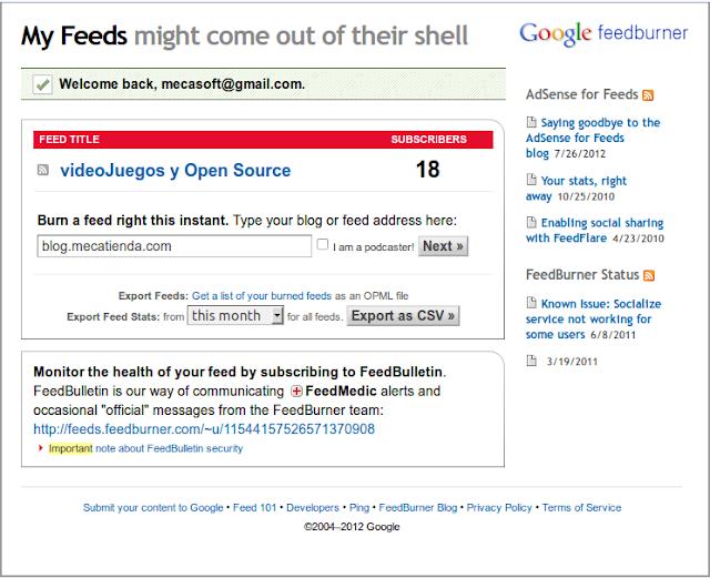 Creamos un nuevo feed con el URL de nuestro blog