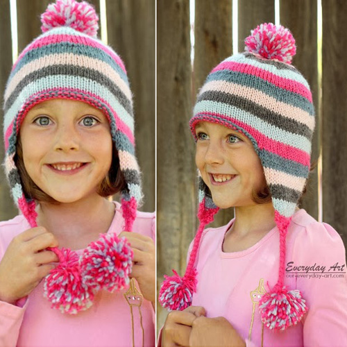 Children's Knit Earflap Hat - Free Pattern