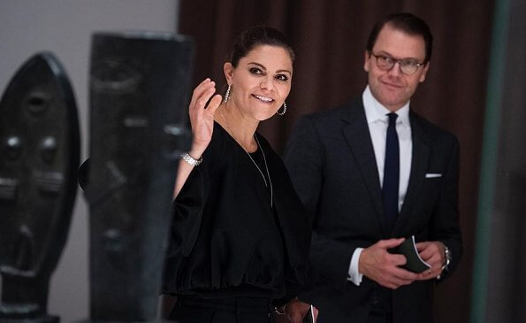 Crown Princess Victoria and Prince Daniel. satin balloon sleeve blouse and, crew neckline, balloon sleeves, velvet trousers, Cravingfor earrings