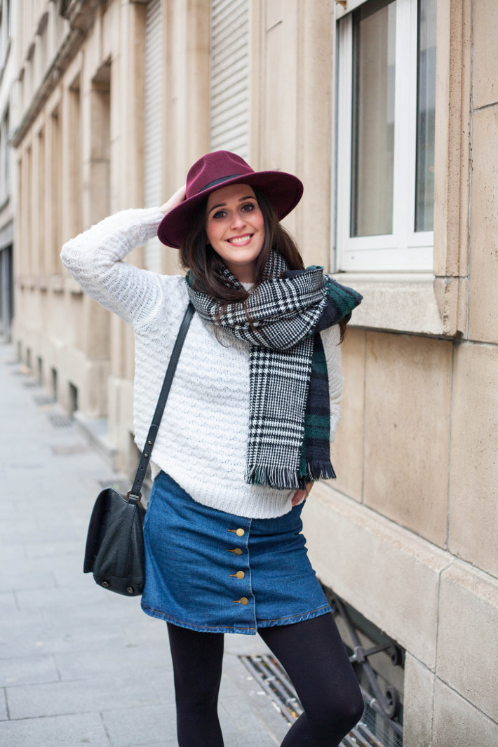 outfit: layering with wide brim hat, oversized scarf, a-line denim skirt