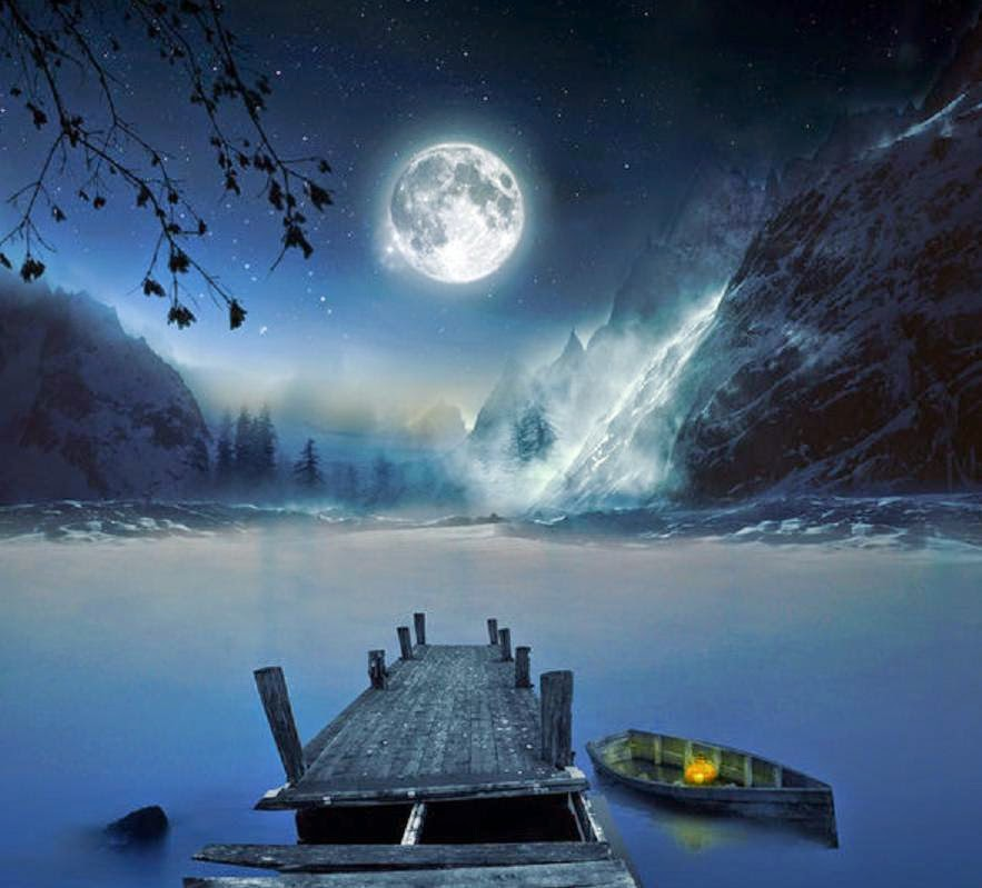 Alone Sad Girl Wallpaper For Pc Moon Light And Stars Night Background With Trees Nature