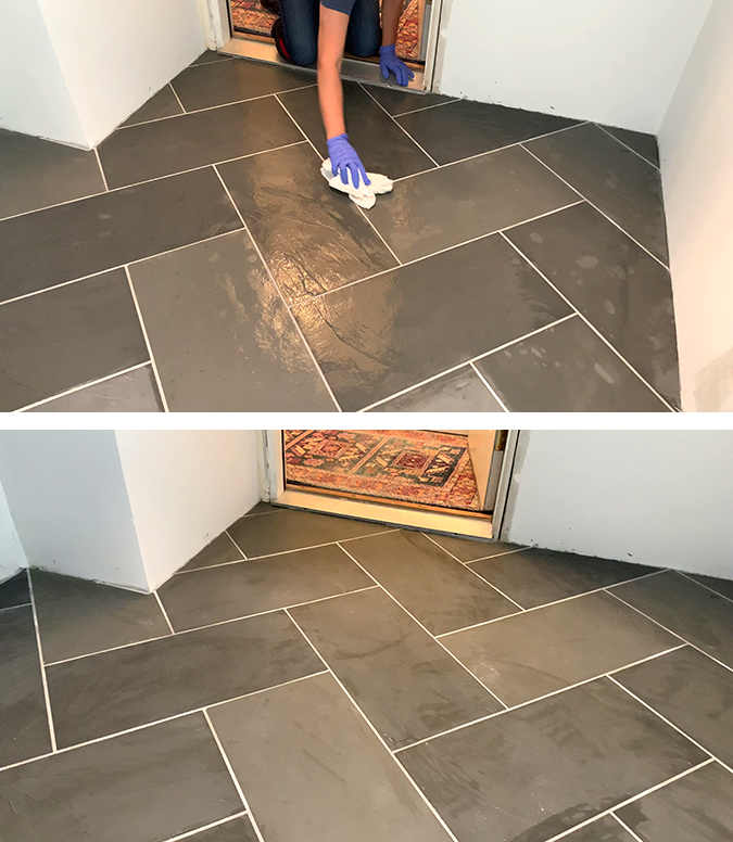drying off excess sealer from slate tile