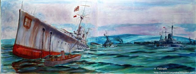 Pintura al óleo de cruceros de batalla hundiendose en Scapa Flow