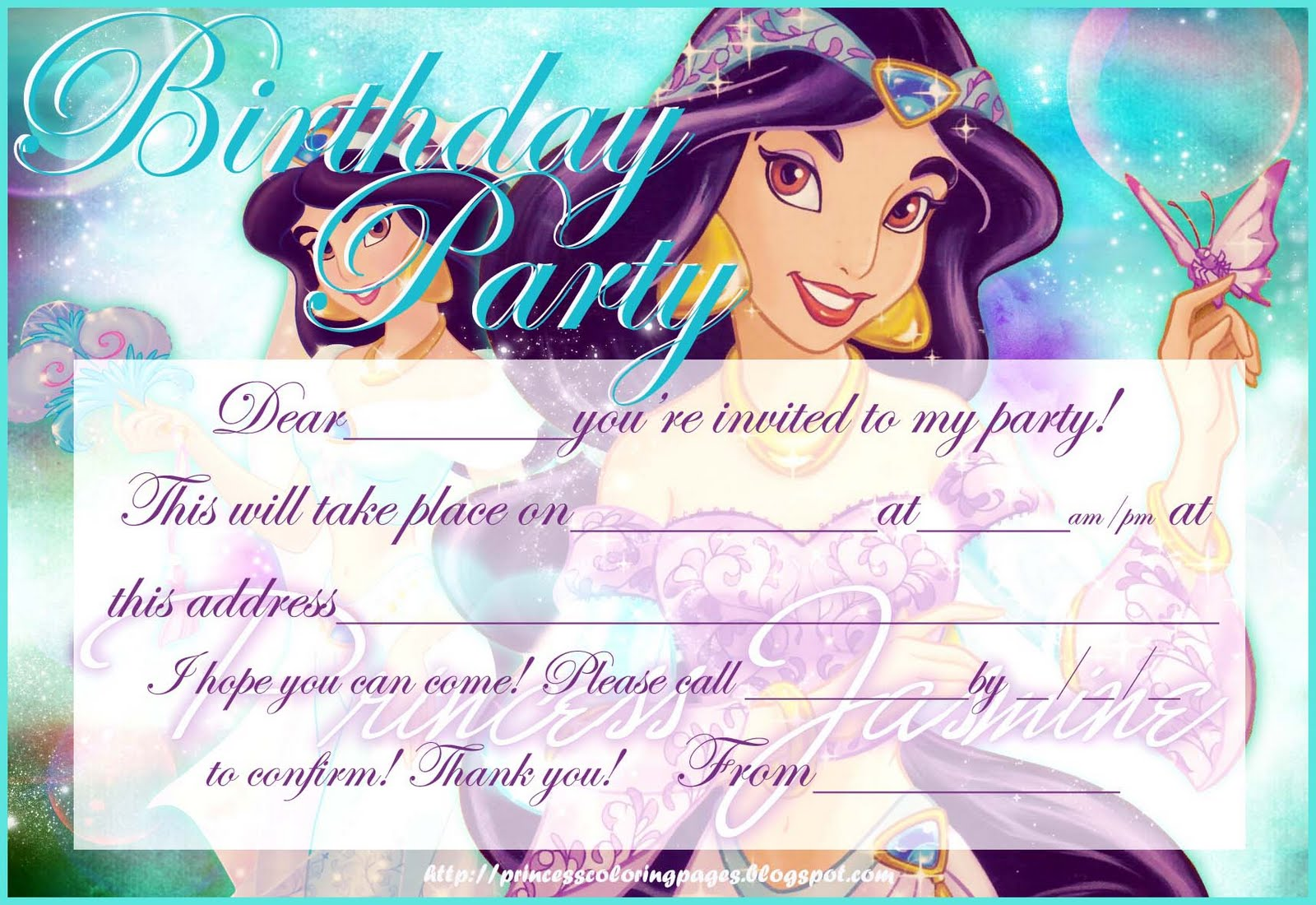 Birthday Party Princess Card coloring page for kids, holiday ... | 1100x1600
