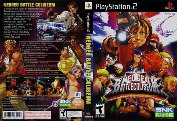 Descargar NeoGeo Battle Coliseum para PlayStation 2 en formato ISO región NTSC y PAL en Español Multilenguaje Enlace directo sin torrent. NeoGeo Battle Coliseum (abreviado NGBC o NBC) es un juego de peleas entre equipos de 2 personajes, el juego presenta personajes de juegos como: The King of Fighters, Fatal Fury, Samurai Shodown, Art of Fighting, entre otros.