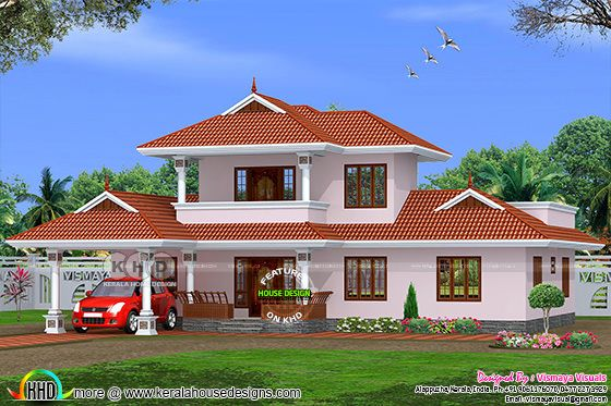 2275 square feet 3 bedroom typical Kerala home design