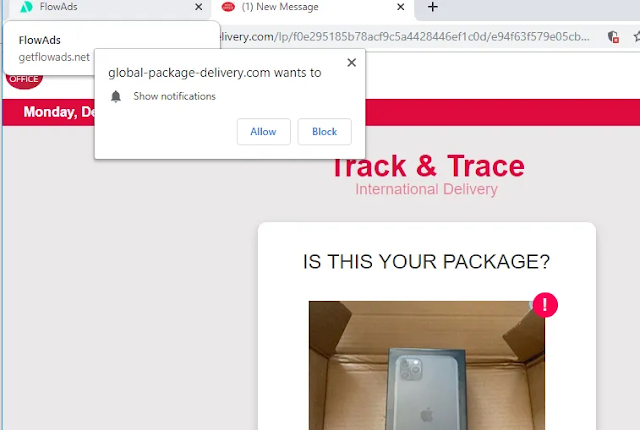 Global-package-delivery.com pop-ups