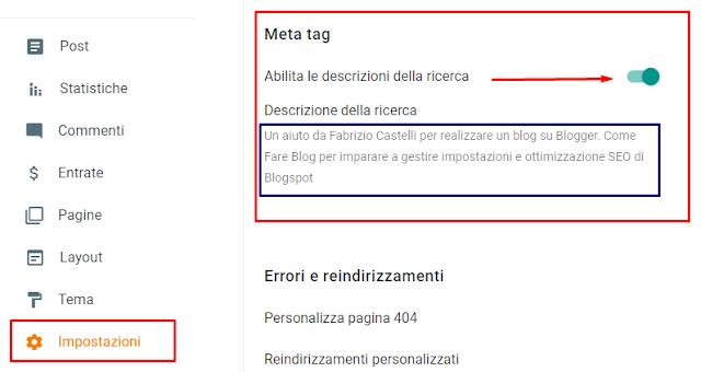 Come mettere metatag Description SEO blog Blogger