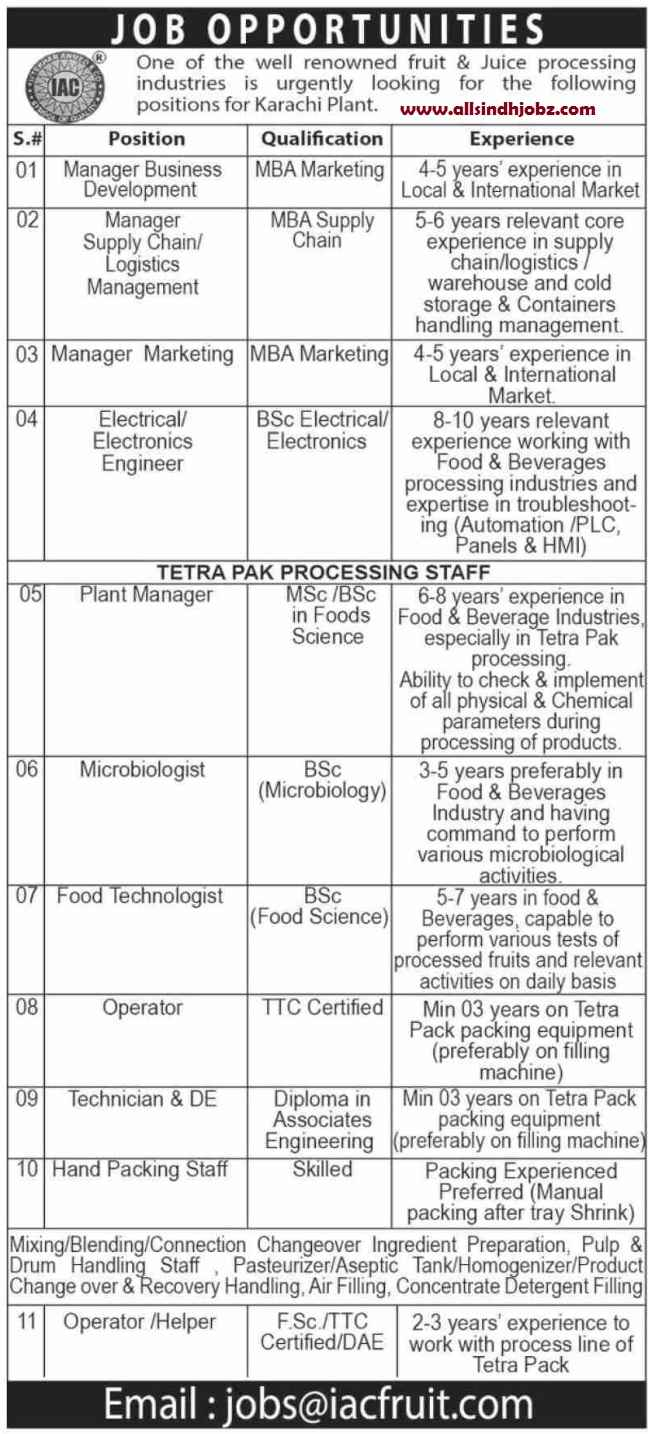 Latest Iftikhar Ahmed & Co IAC Fruit Management Posts Karachi 2020 | Sindh Jobs