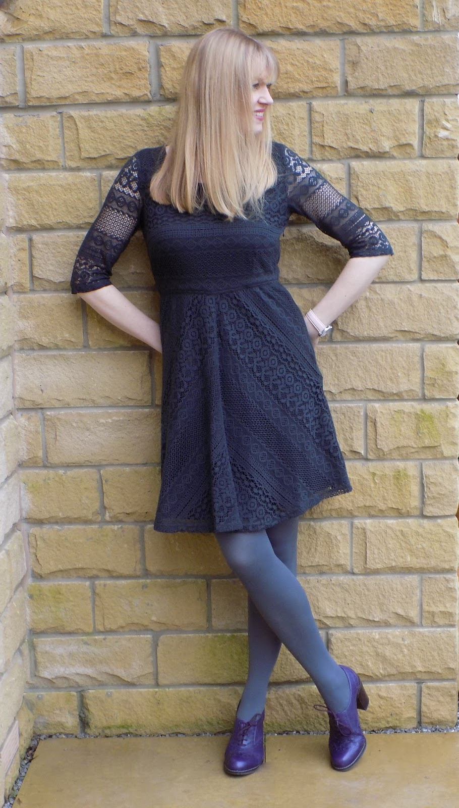 Grey lace dress with purple brogues