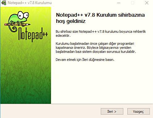 Notepad++ Kurulum aşaması