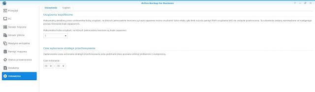 Active Backup for Business zakładka Ustawienia