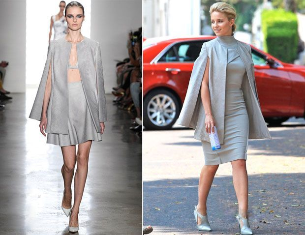 On The Set Of 'Headlock' - Dianna Agron in Carolina Herrera Dress & Cushnie Et Ochs Cape