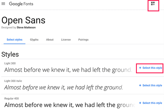 Select the font styles you want to use