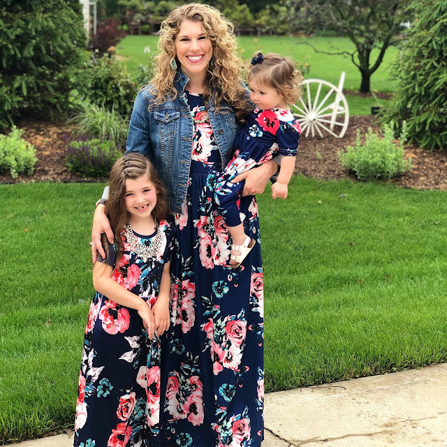 blue floral maxi dress, mommy daughter dress