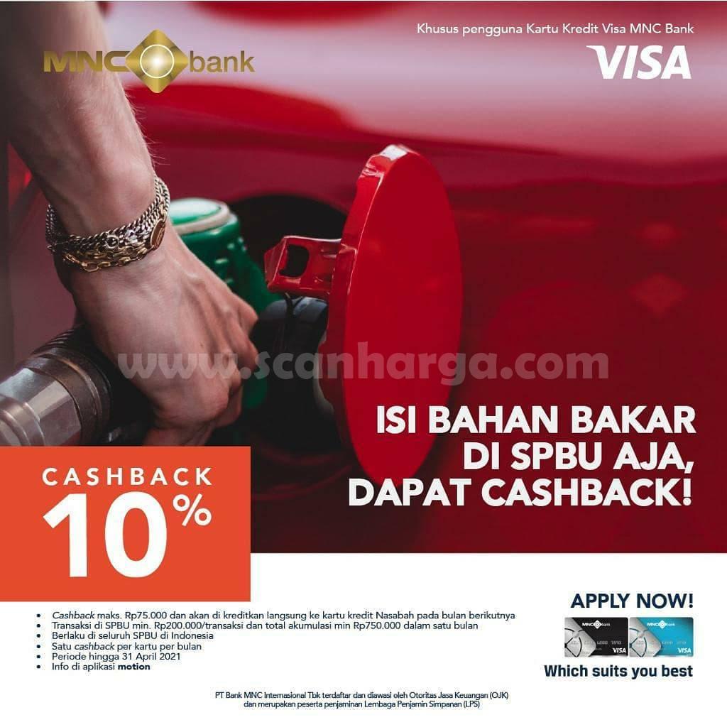 BANK MNC Promo Cashback 10%! Isi Bahan Bakar di SPBU